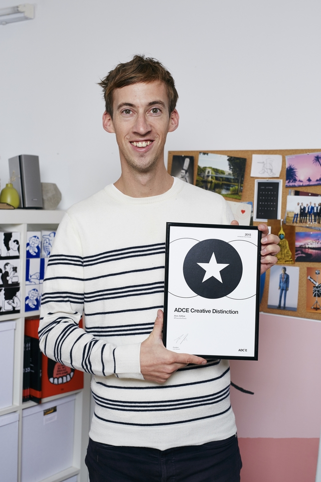 Jean Jullien with the ADCE Creative Distinction Award. Photo by Duncan Nicholls.jpg