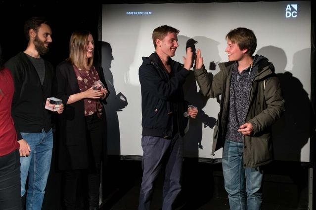 adc_yca_preisverleihung_2015-Die Gewinner Film Edoardo Moruzzi & Sandy Pfuhl und das nachnominierte Team Oscar Jacobson & Christian Frei.jpg